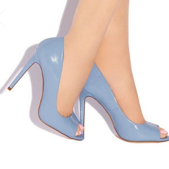 Shoes | Nwot Baby Blue Peep Toe Heel